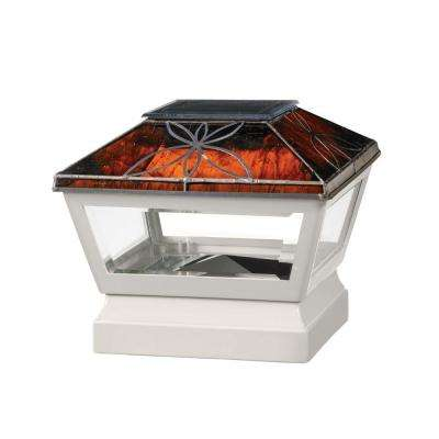5 in. x 5 in. Vinyl Solar Light Chestnut Top Pyramid Post Cap with White Base