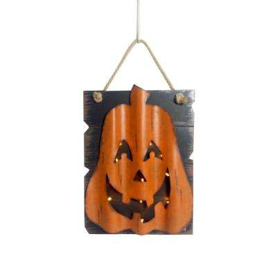 16 in. LED Wooden and Iron Pumpkin Hanging Wall Decor