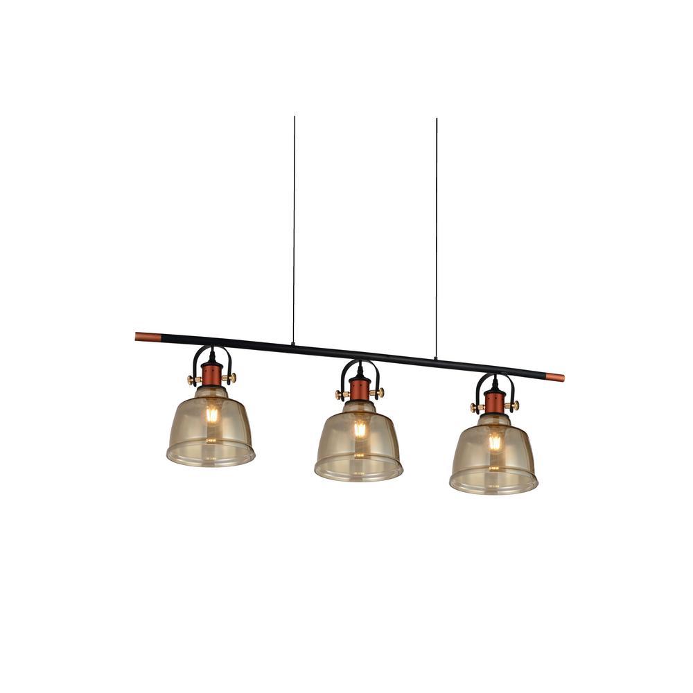 Tower Bell 3-Light Cognac Chandelier with Cognac shade