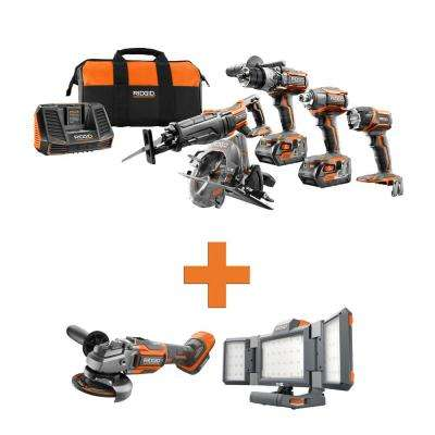 18-Volt Lithium-Ion Cordless 5-Tool Combo w/Bonus OCTANE Brushless Angle Grinder & Hybrid Folding Panel Light