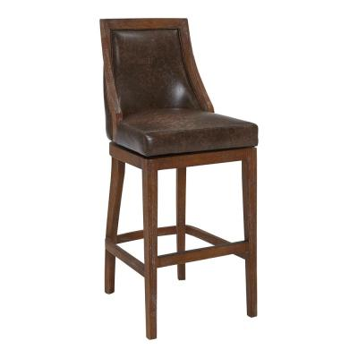 """Presley 30"""" Bar Height Wood Swivel Bar Stool in Distressed Finish with Brown Stone Faux Leather"""