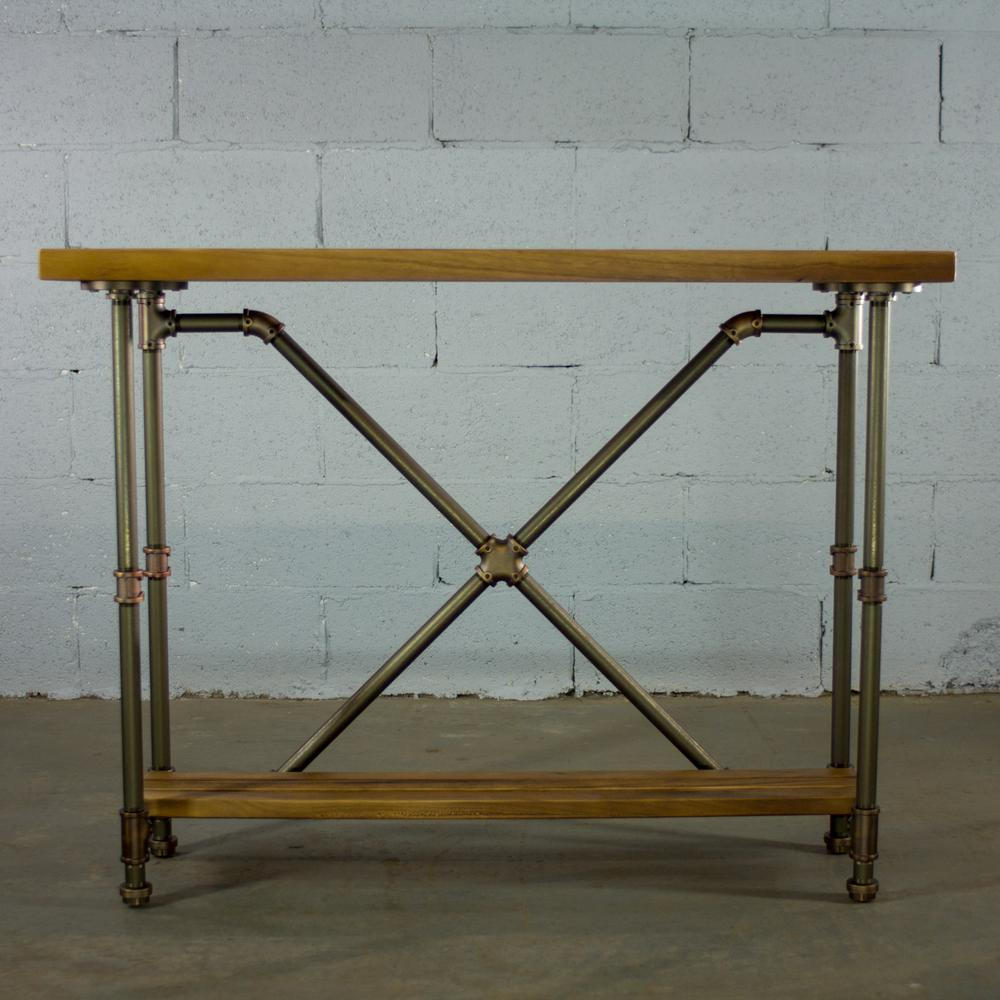 Brushed Brass Industrial Pipe 2-Tier Console Sofa Hall Table with Reclaimed