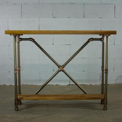 Brushed Brass Industrial Pipe 2-Tier Console Sofa Hall Table with Reclaimed Aged Wood