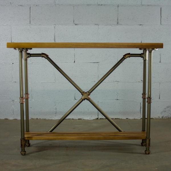 OS Home and Office Furniture Brushed Brass Industrial Pipe 2-Tier Console