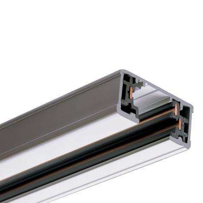8 ft. White Single Circuit Track Lighting System Linear Rail Section