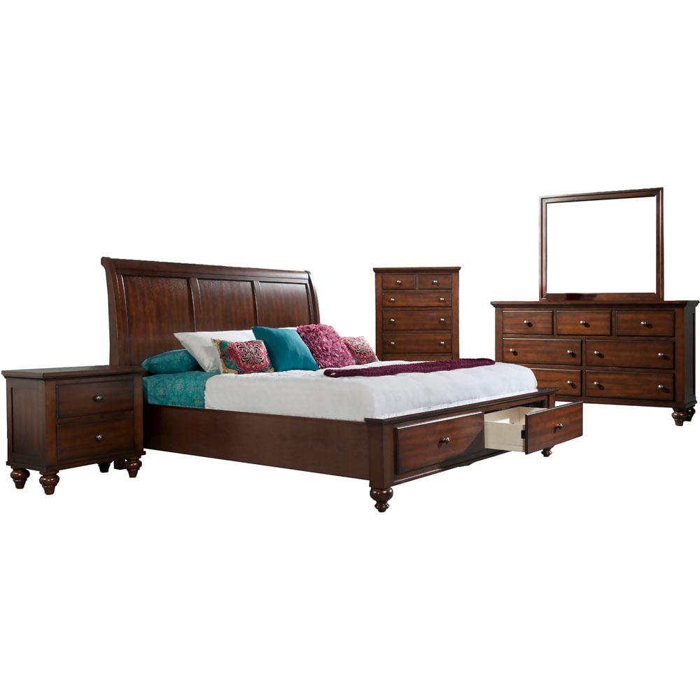 Cambridge Storage Cherry Red King Bed Dresser Mirror Chest Nightstand Suite