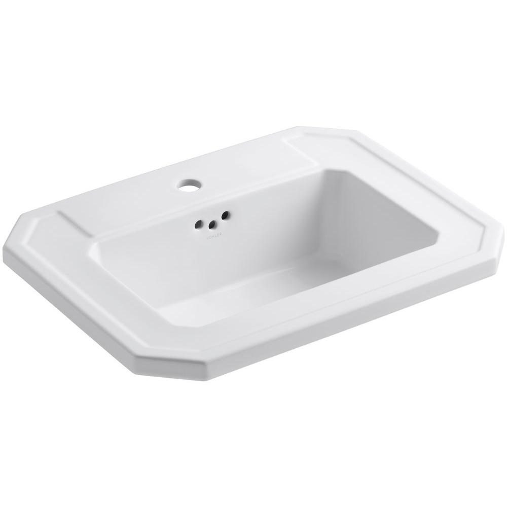 Kohler Kathryn Drop In Vitreous China Bathroom Sink In White With Overflow Drain K 2325 1 0
