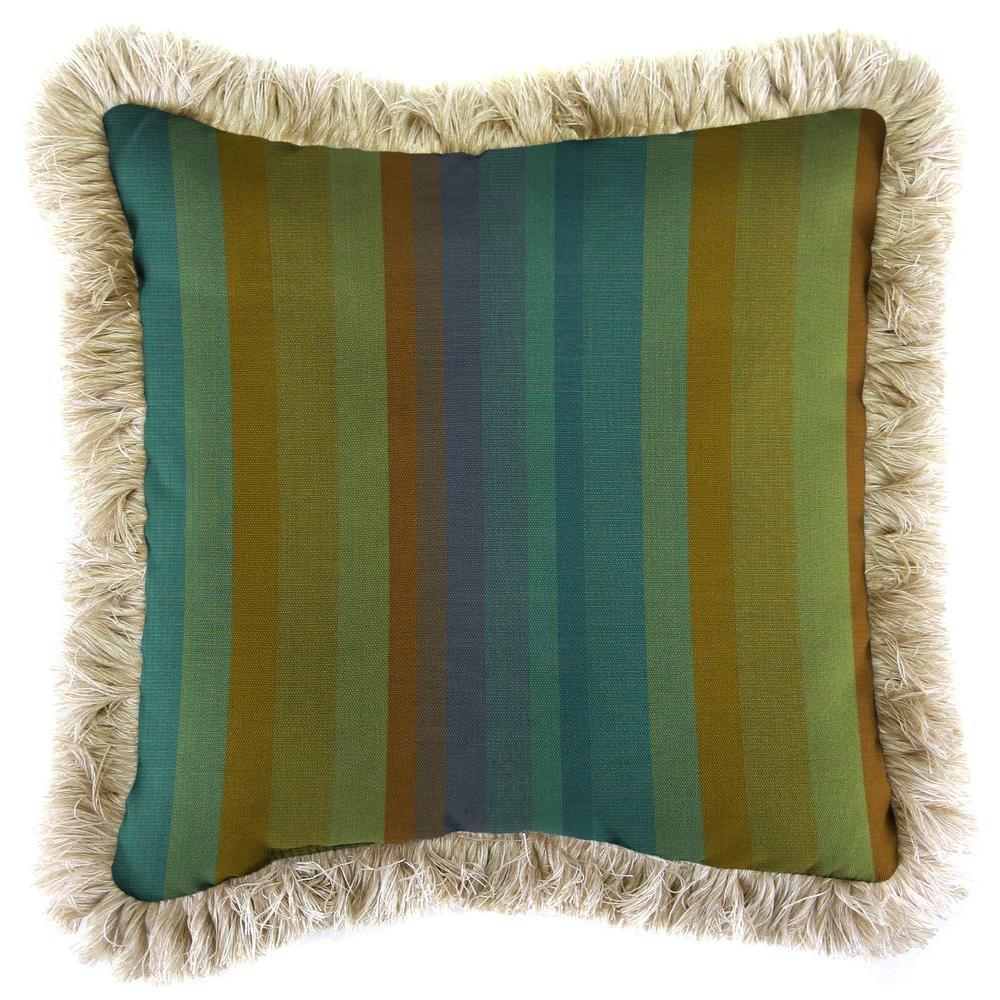 Sunbrella Astoria Lagoon Square Outdoor Throw Pillow with Canvas Fringe