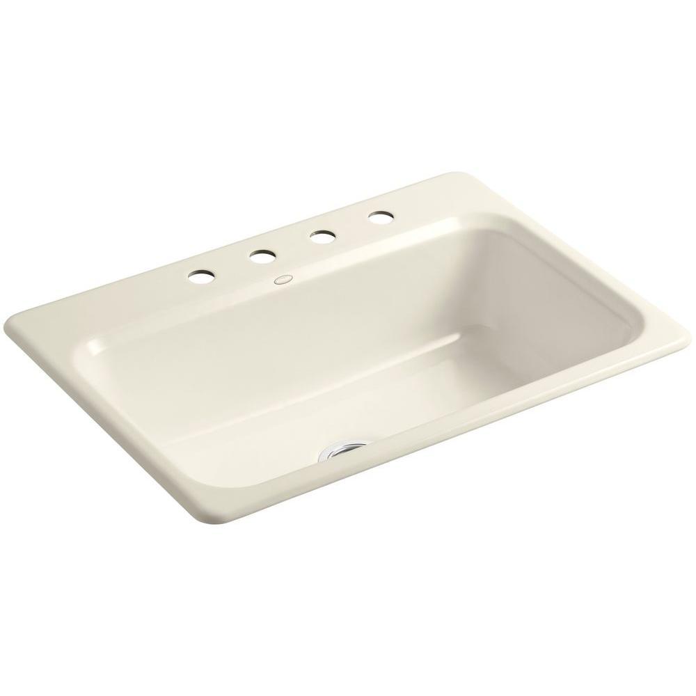 KOHLER Bakersfield Drop-In Cast-Iron 31 in. 4-Hole Single Bowl Kitchen Sink in Almond