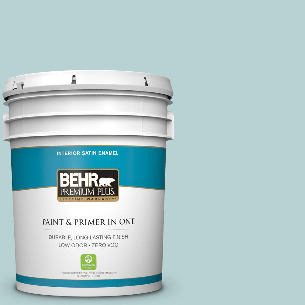 BEHR Premium Plus 5 gal. #S440-2 Malaysian Mist Satin Enamel Zero VOC Interior Paint and Primer in One