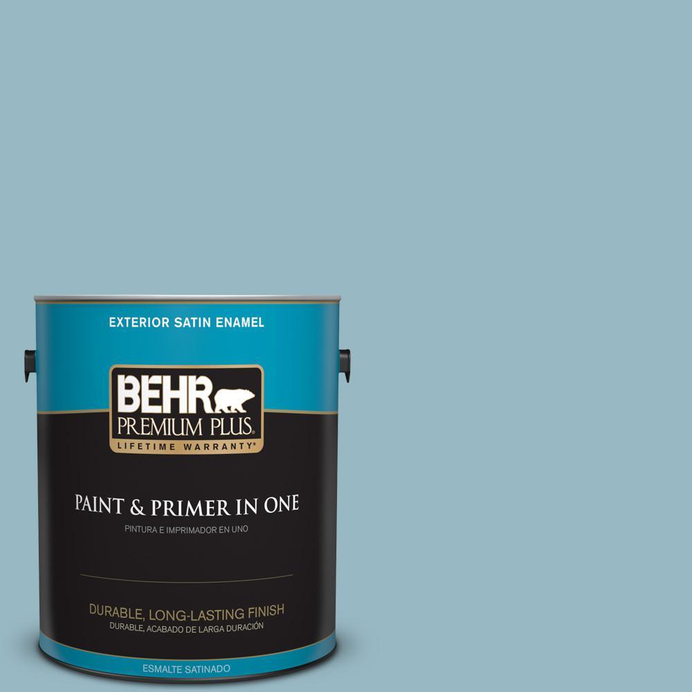 1 gal. #PPU13-09 Tahoe Blue Satin Enamel Exterior Paint