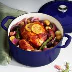 Gourmet 5.5 qt. Round Porcelain-Enameled Cast Iron Dutch Oven in Gradated Cobalt with Lid