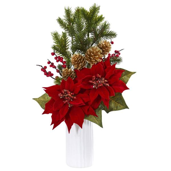 Nearly Natural Indoor Poinsettia Berry Artificial Arrangement in White Vase