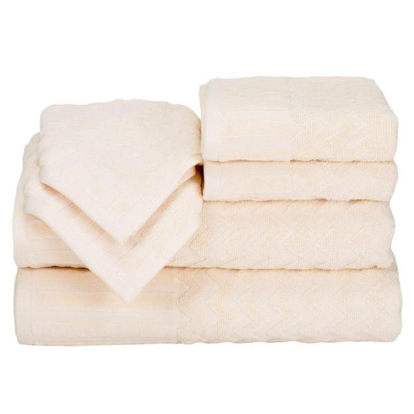 Lavish Home 6-Piece Chevron Egyptian Cotton Towel Set in Bone 67-0020-B