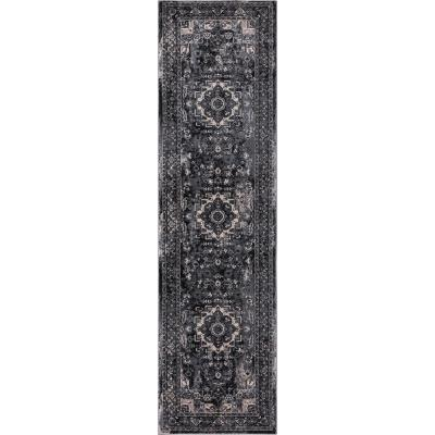 Angora Anthracite 2 ft. x 7 ft. Medallion Runner Rug