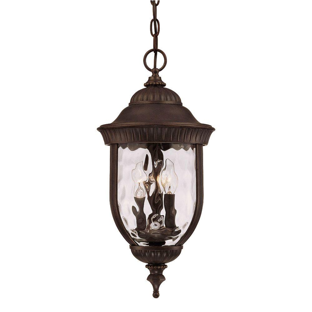 3-Light Outdoor Hanging Walnut Patina Lantern with Clear Hammered Glass Shade