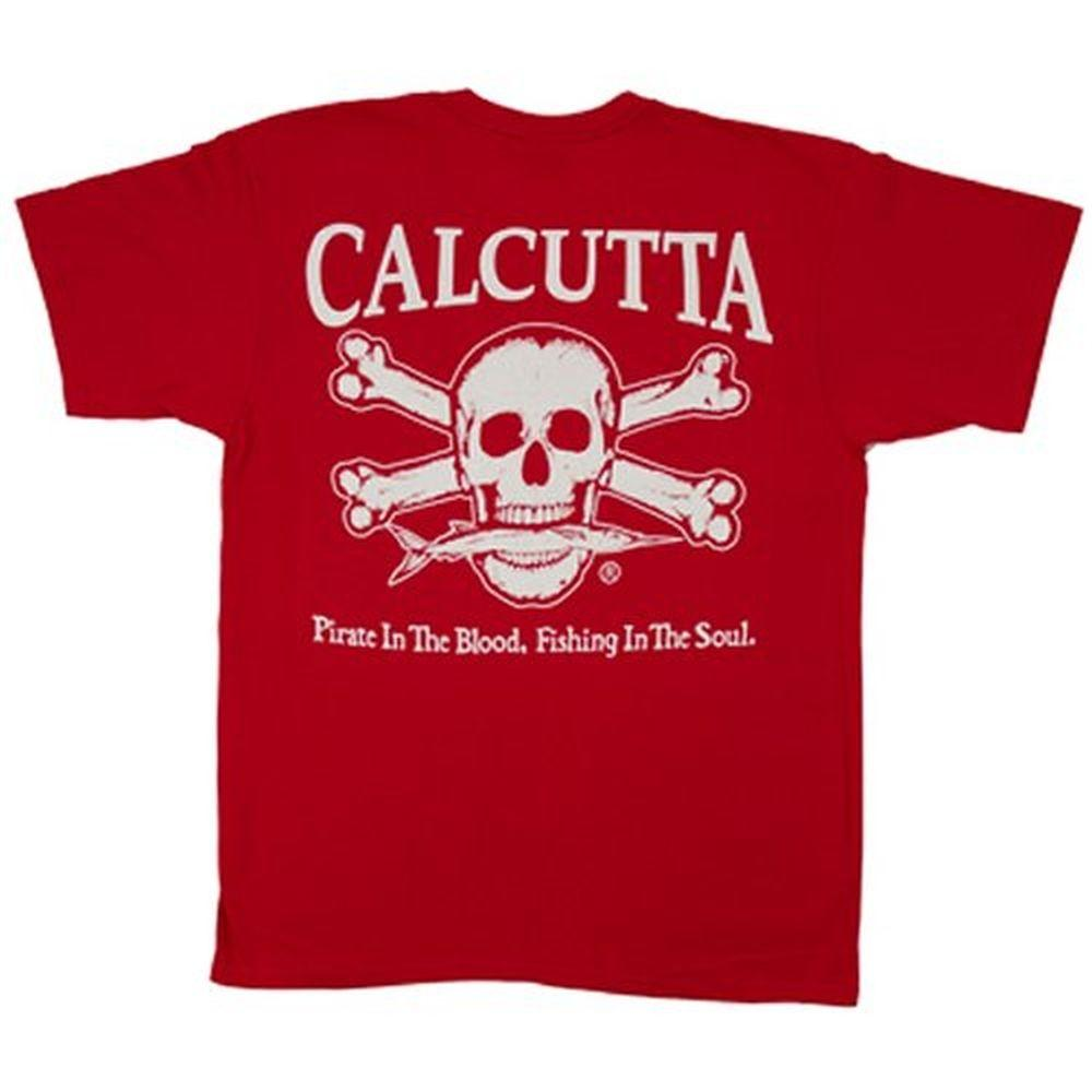 Calcutta Adult Double Extra Large Original Logo Short Sleeved Front Pocket T-Shirt in Red