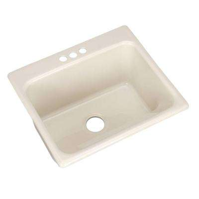 Kensington Drop-In Acrylic 25 in. 3-Hole Single Bowl Utility Sink in Bone