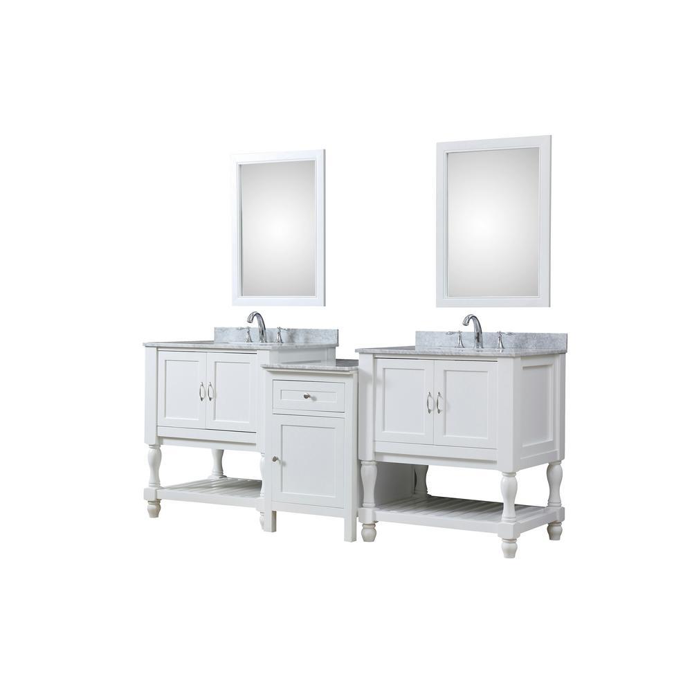 Direct vanity sink Turnleg Hybrid Bath and Makeup 83 in. W Vanity in ...