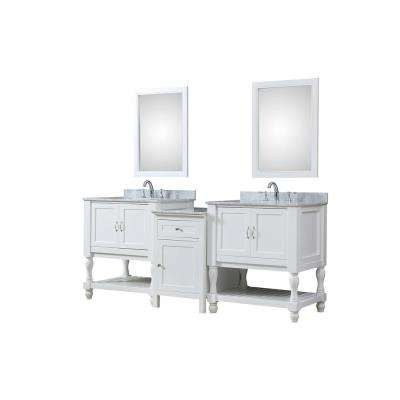 Turnleg Hybrid Bath and Makeup 83 in. W Vanity in White with Marble Vanity Top in White with White Basin and Mirrors