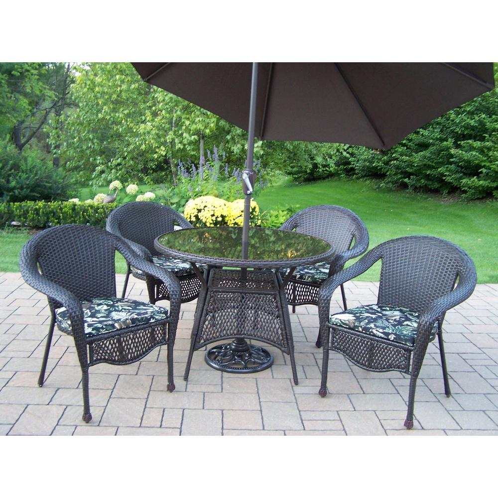 7-Piece Wicker Outdoor Dining Set with Black Floral Cushions and Brown