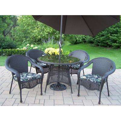 7-Piece Wicker Outdoor Dining Set with Black Floral Cushions and Brown Umbrella