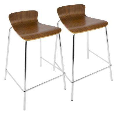Wood Stacker 29 in. Walnut Stackable Bar Stool (Set of 2)