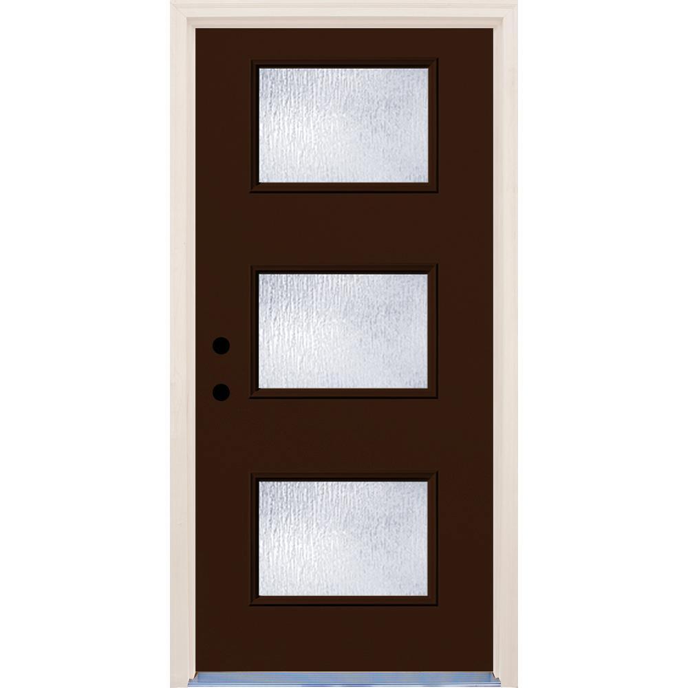 36 in. x 80 in. Earthen 3 Lite Rain Glass Painted Fiberglass Prehung Front Door with Brickmould