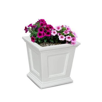 16 in. Square White Resin Self-Watering Fairfield Planter