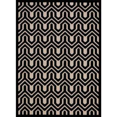 Ultima Ivory/Black 7 ft. 9 in. x 10 ft. 10 in. Area Rug