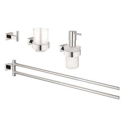 Essentials Cube 4-Piece Bath Hardware Set in StarLight Chrome