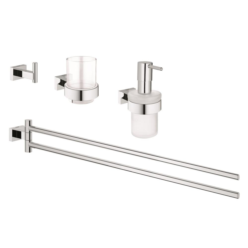 grohe essentials cube 4 piece bath accessory set in starlight chrome 40847001 the home depot. Black Bedroom Furniture Sets. Home Design Ideas