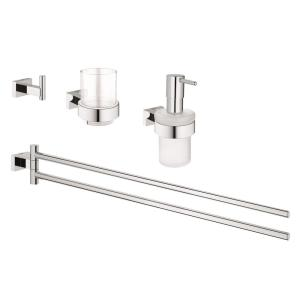 GROHE Essentials Cube 4-Piece Bath Accessory Set in StarLight Chrome by GROHE
