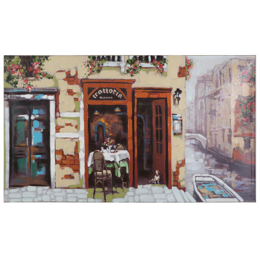 "Yosemite Home Decor 31.49 in. x 55.25 in. ""Venetian Canal"" Hand Painted Contemporary Artwork"
