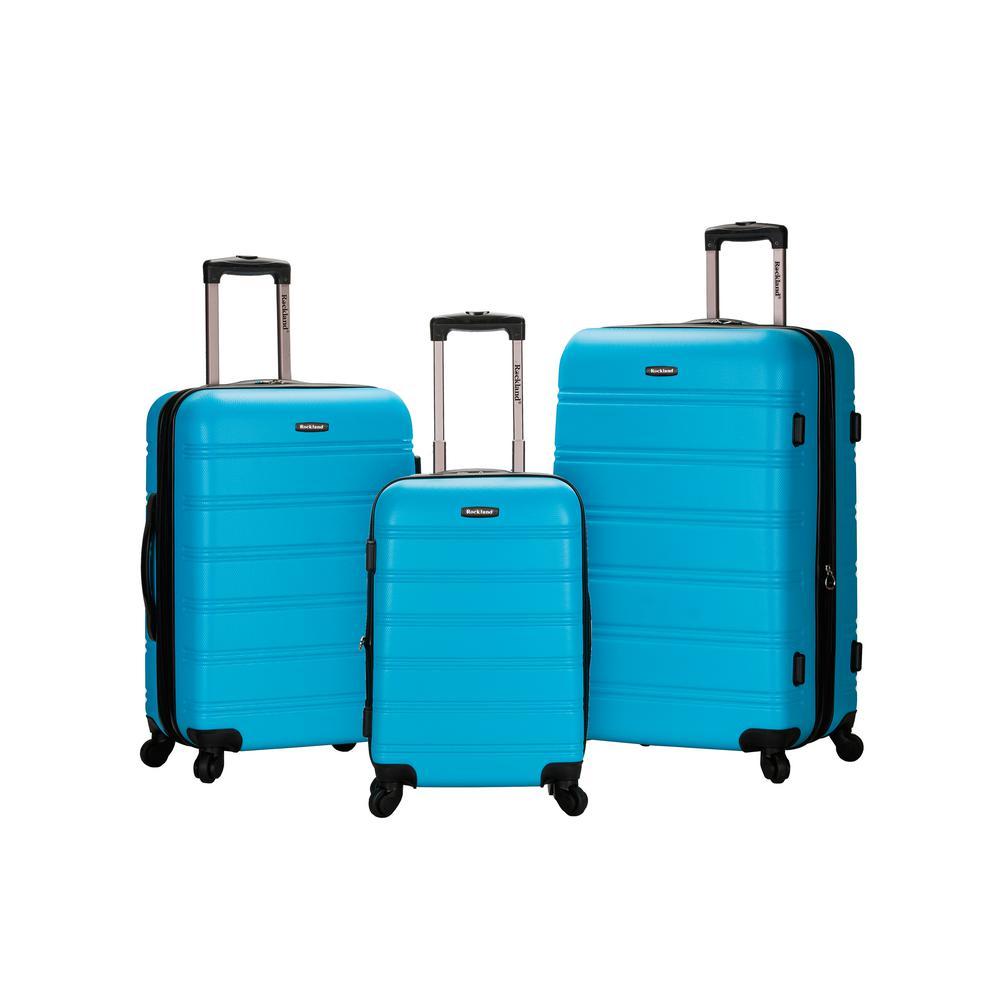 Rockland Melbourne 3-Piece Hardside Spinner Luggage Set, Turquoise