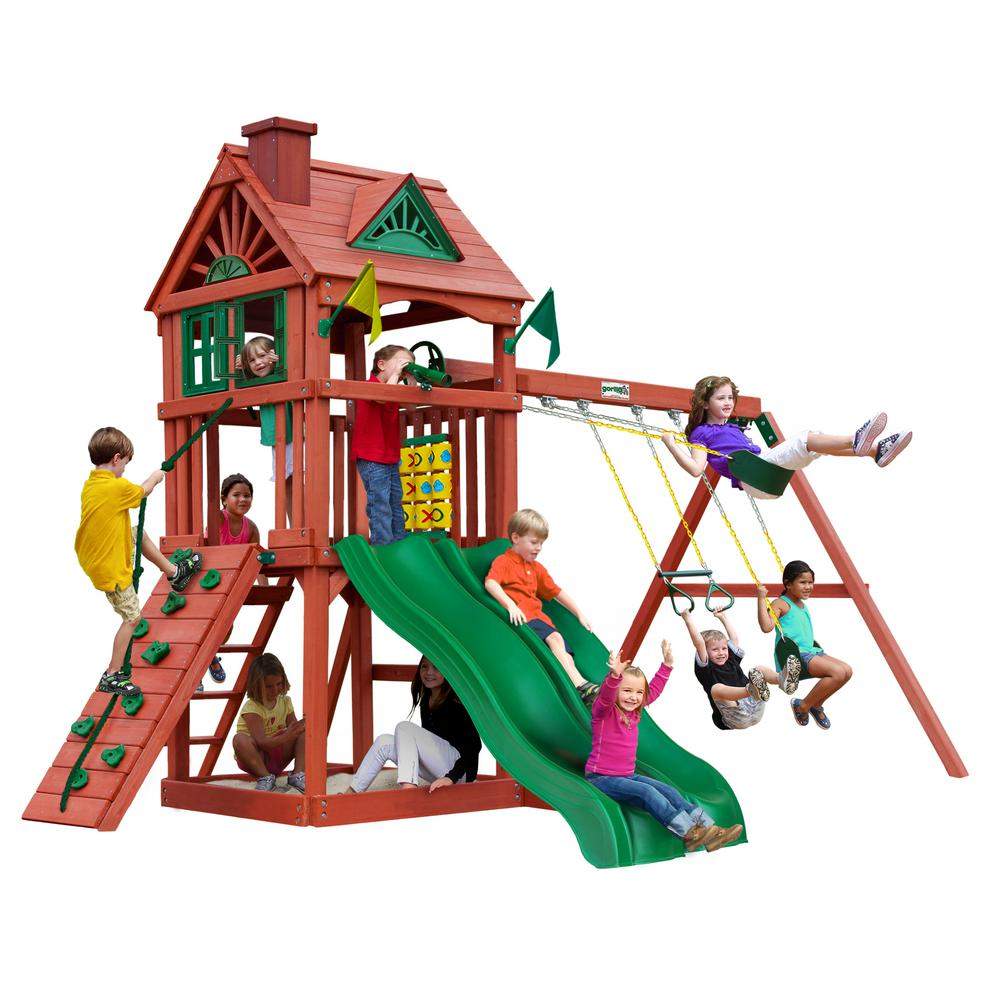 Gorilla Playsets Double Down Wooden Playset With 2 Slides And Rock