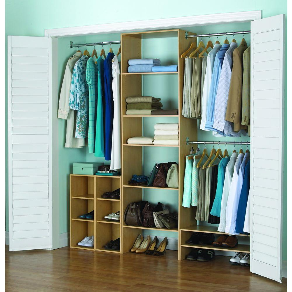 5 Shelf/3 Rod Laminate Closet Tower Organizer In