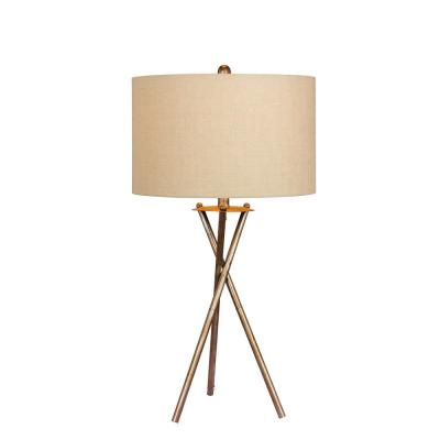 31 in. Industrial Tripod Metal Table Lamp in a Rusted Silver