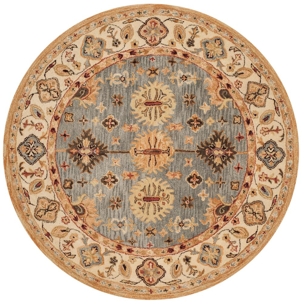 Antiquity Blue/Ivory 6 ft. x 6 ft. Round Area Rug