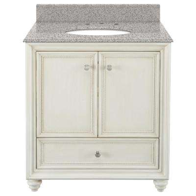 Dellwood 31 in. W x 22 in. D Bath Vanity in Antique White with Granite Vanity Top in Napoli with White Sink