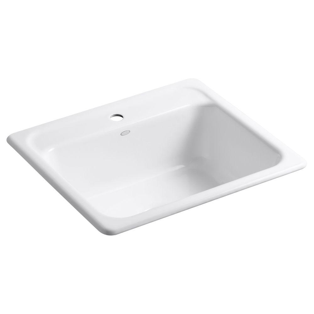 KOHLER Mayfield Drop-In Cast-Iron 25 in. 1-Hole Single Basin Kitchen ...
