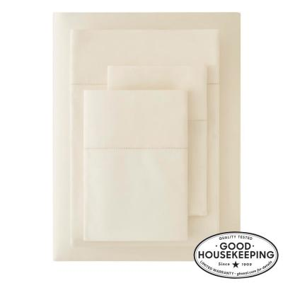 500 Thread Count Egyptian Cotton Sateen 4-Piece King Sheet Set in Ivory