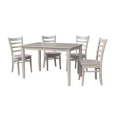 Mia 5-Piece Weathered Gray Solid Wood Dining Set with Emily Chair