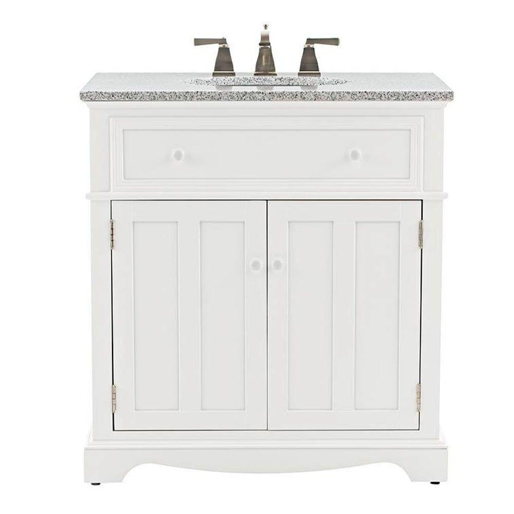 Delicieux D Bath Vanity In White With Granite