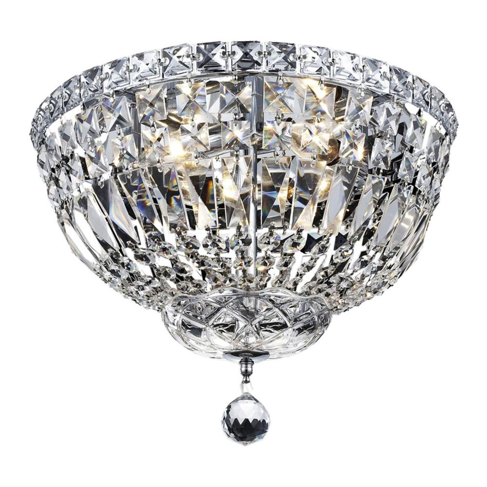4-Light Chrome Flushmount with Clear Crystal