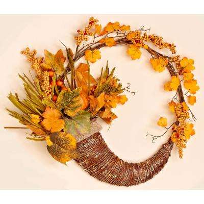18 in. Fall Cornucopia Wreath with Long Grasses Berries Pumpkins and Leaves