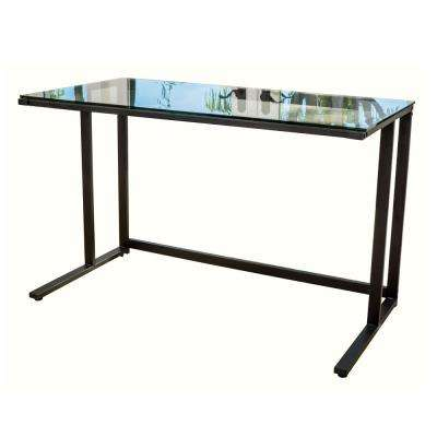 Eghan Black Metal Computer Desk with Clear Tempered Glass Top