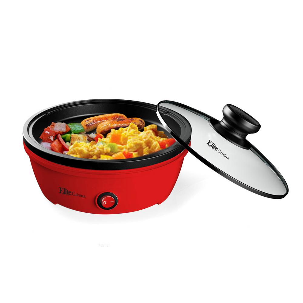 Elite Cuisine EGL-6101 Electric Personal Nonstick Stir Fry Griddle Pan Skillet with Tempered Glass Lid Indicator Light Red 8.5 inch Rapid Heat Up 650 Watts High Temperature On//Off Switch