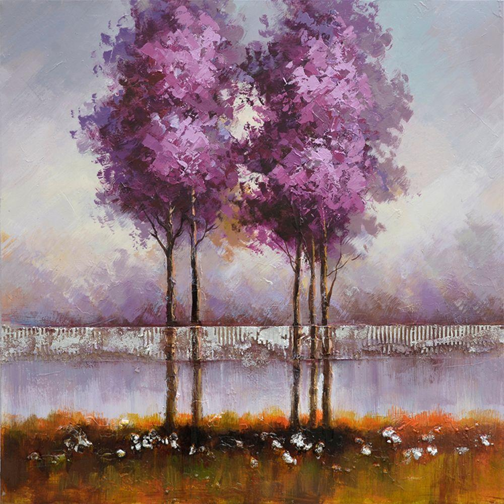 Yosemite Home Decor 31 in. x 31 in. Lilac Reflections II Hand Painted Contemporary Artwork -DISCONTINUED