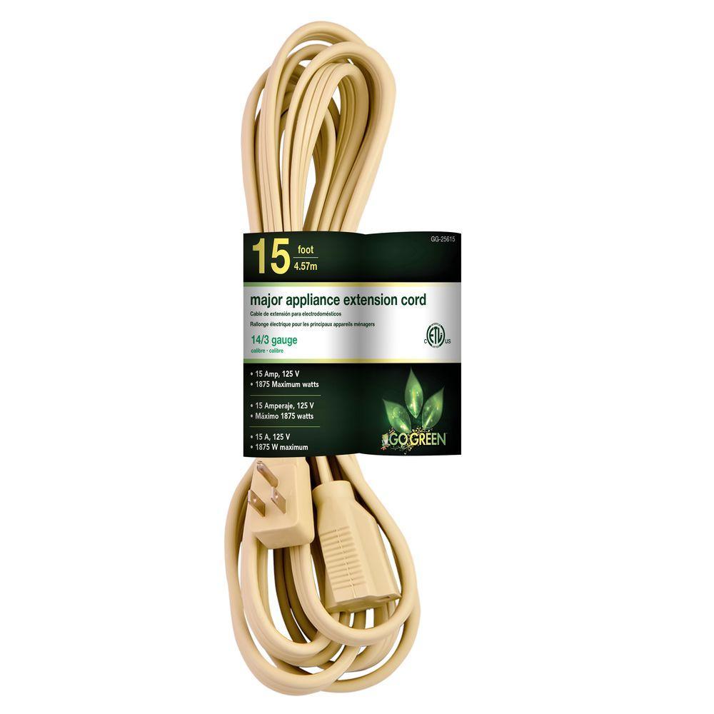 15 ft. 14/3 SPT A/C Extension Cord - Beige
